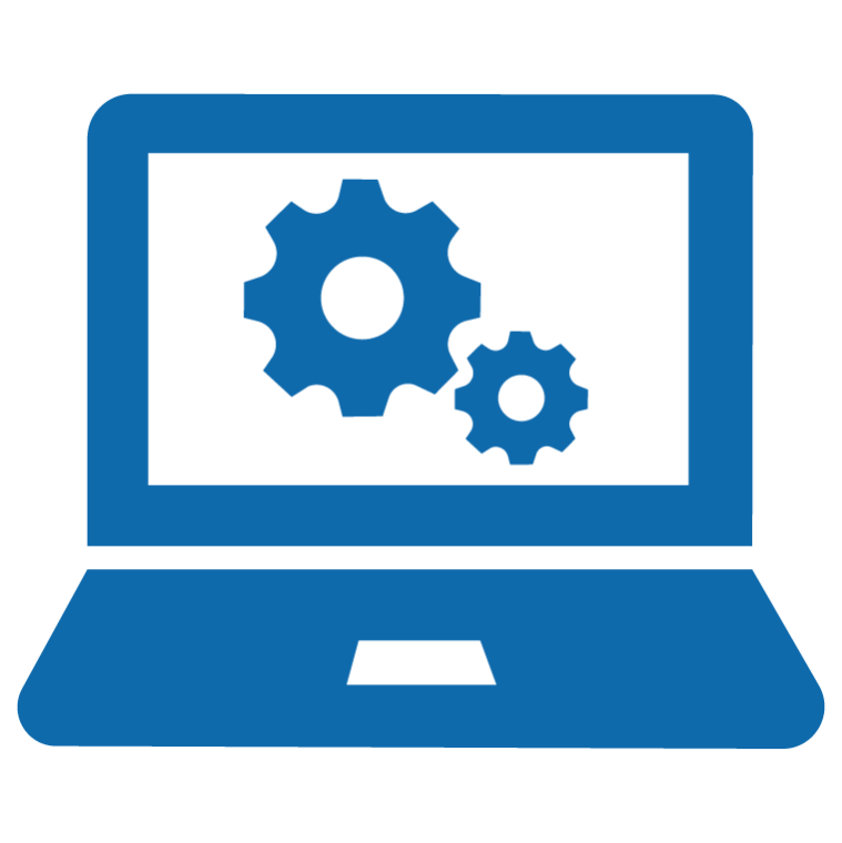 An icon of a laptop with two gears on the screen