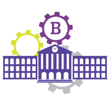 The Ellucian Banner logo, an academic building with gears above it