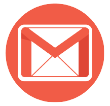 A red circle with the gmail logo