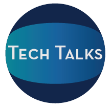 The blue Tech Talk logos