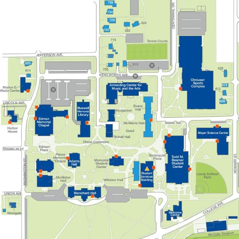 campus map blue buildings