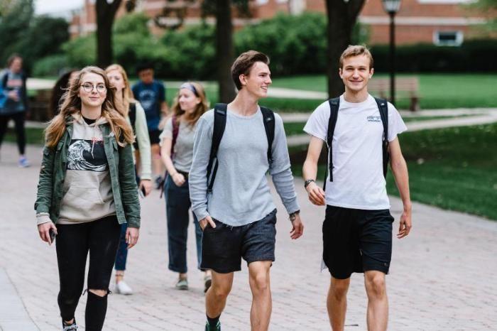 Several Wheaton College IL Students Walking Outside