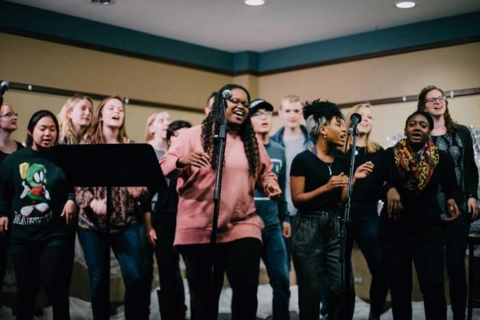 Diverse Wheaton Students Singing at Willie-O Coffeehouse