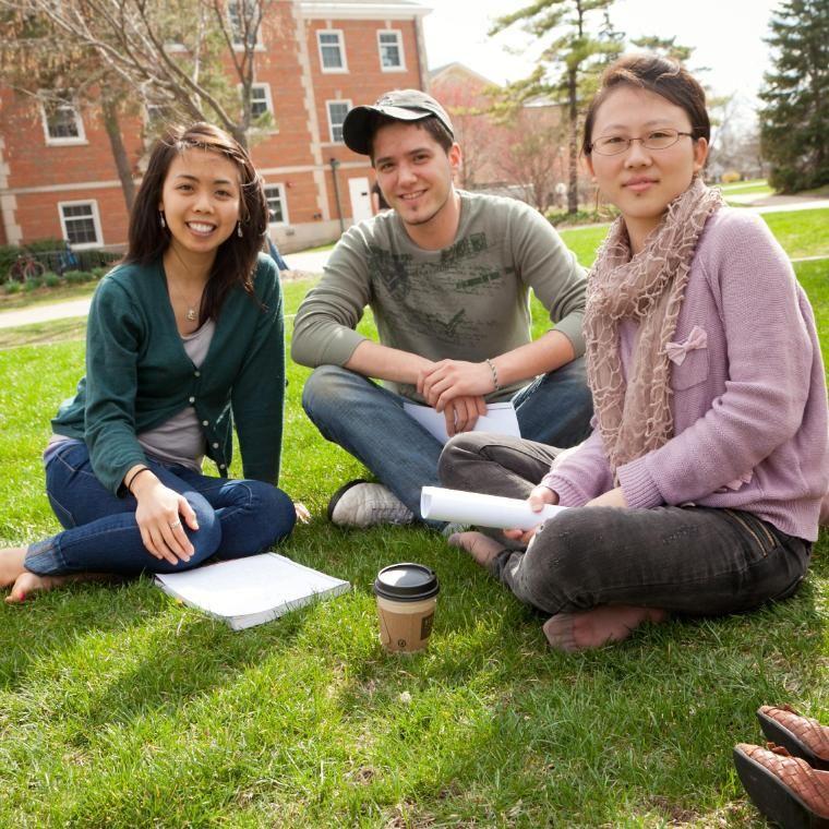 Three Students in Quad Square