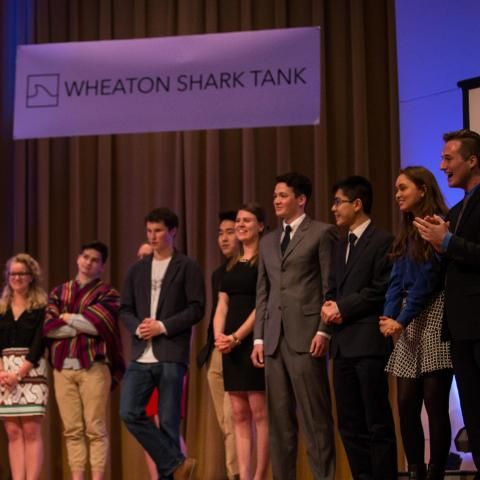 Students at the Wheaton College Shark Tank Event