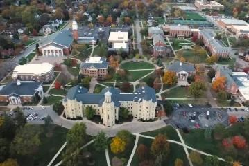 Aerial view of Blanchard Hall and campus