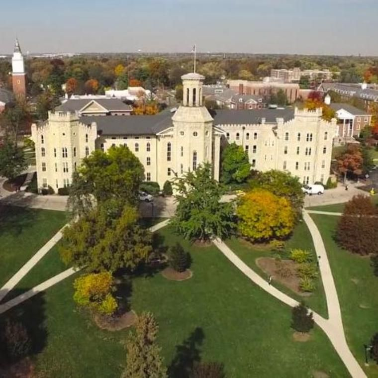 Wheaton College Blanchard Hall Aerial Shot