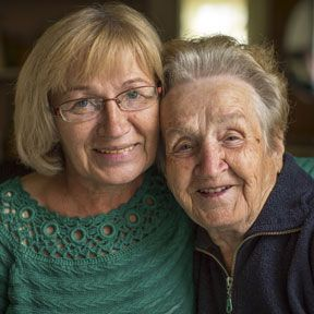 Elderly Mother and adult daughter