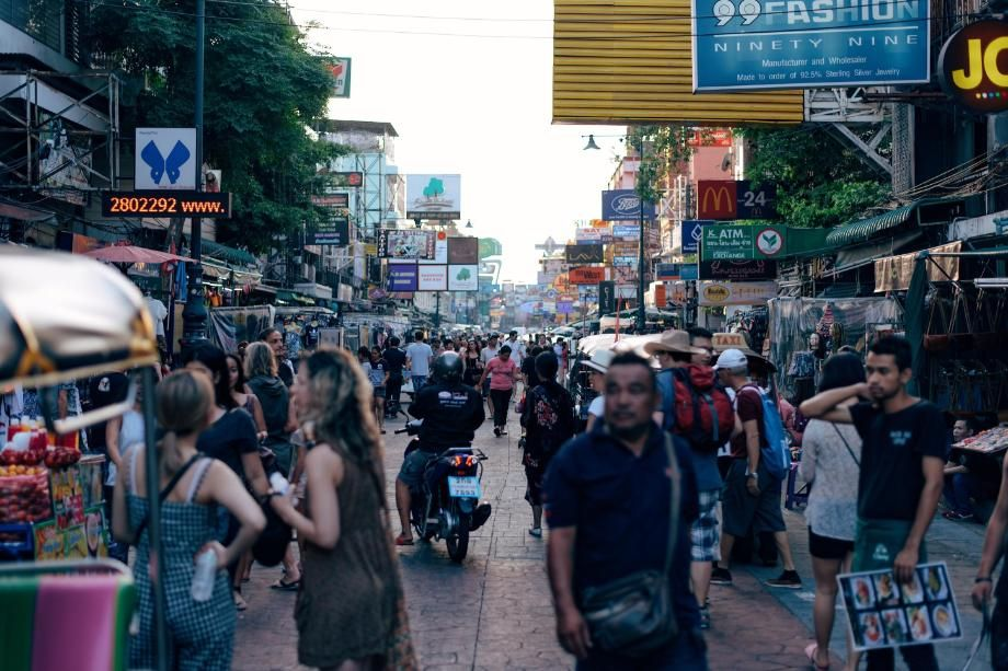 City Street Scene with crowds