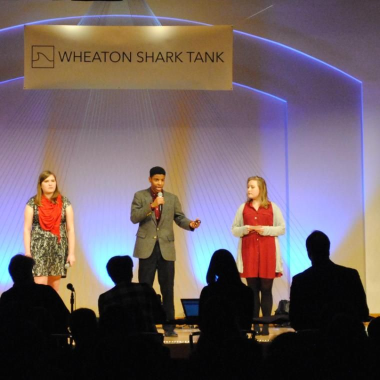 Wheaton College Students Students at Shark Tank Event