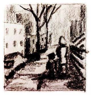 Charcoal sketch of young Asher with his mother walking down the street