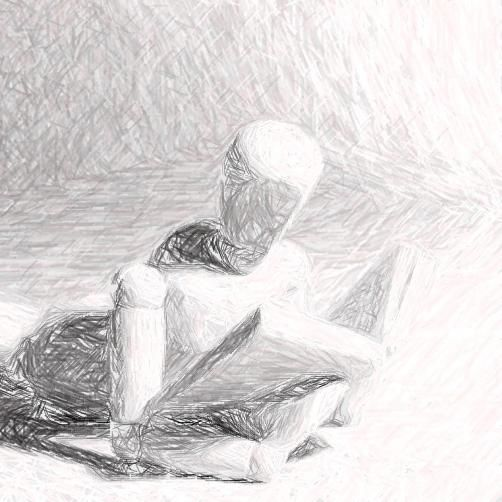 Pencil sketch of a wooden drawing figure reading a book