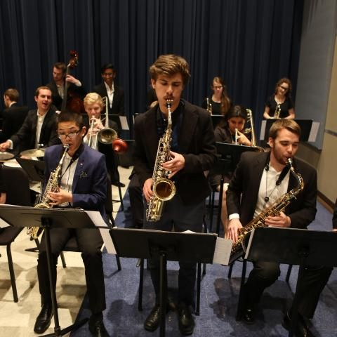 Students playing during the Jazz Ensemble