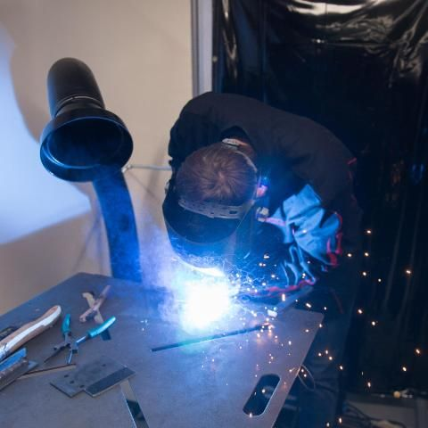 Engineering student metalwork