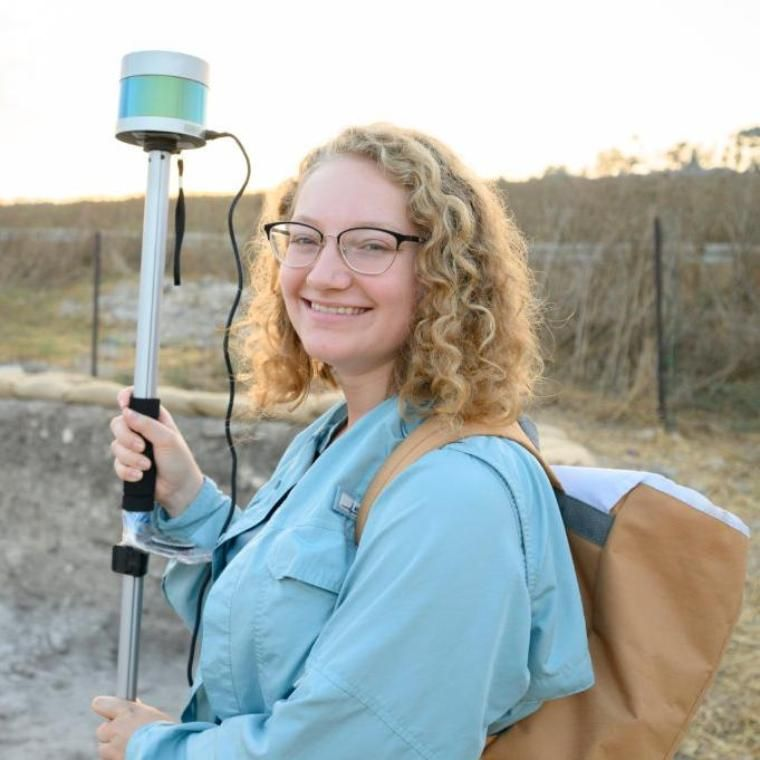 Engineering Student McKenzie Blank with Lidar at Tel Shimron