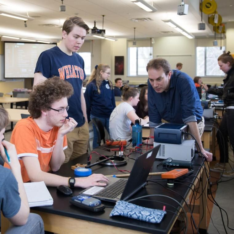 Wheaton College IL Engineering Lab with Students and Professor