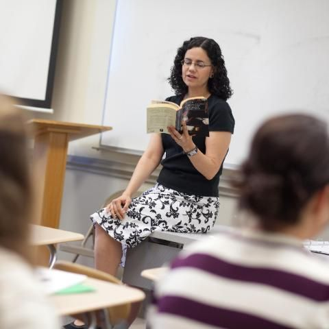 Dr. Christine Colon teaching a class at Wheaton College