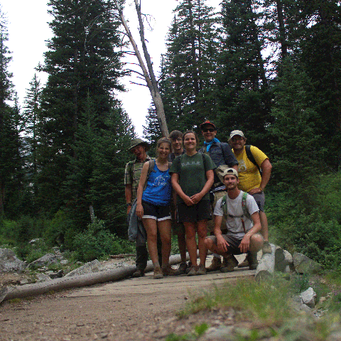 Wheaton College students in the forest