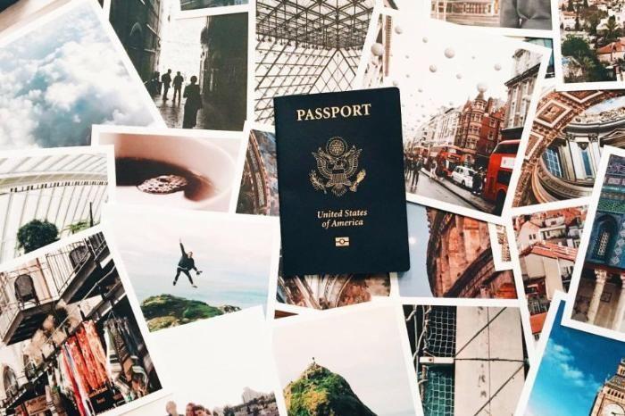 Passport with polaroid travel photos