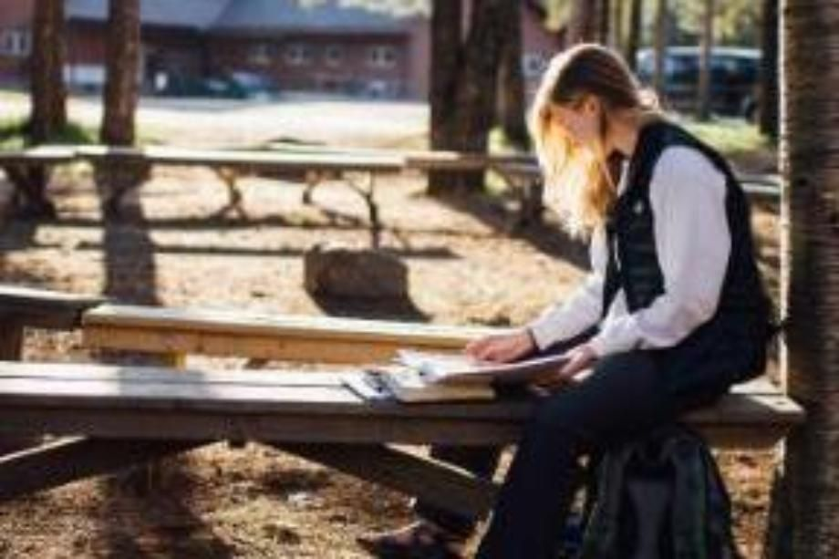 student studying in the northwoods