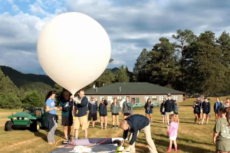 Experiment using balloon at Wheaton College Science Station