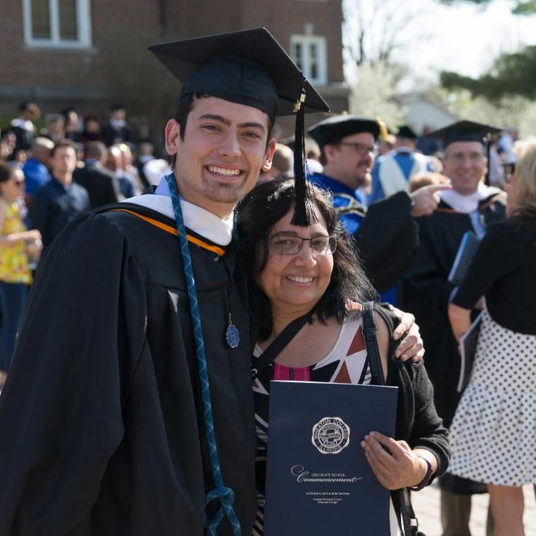 Wheaton College Graduate School Graduate Student at Commencement with His Mom