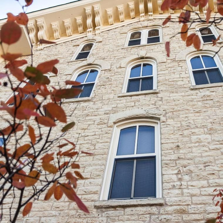 wall of Blanchard Hall in Autum