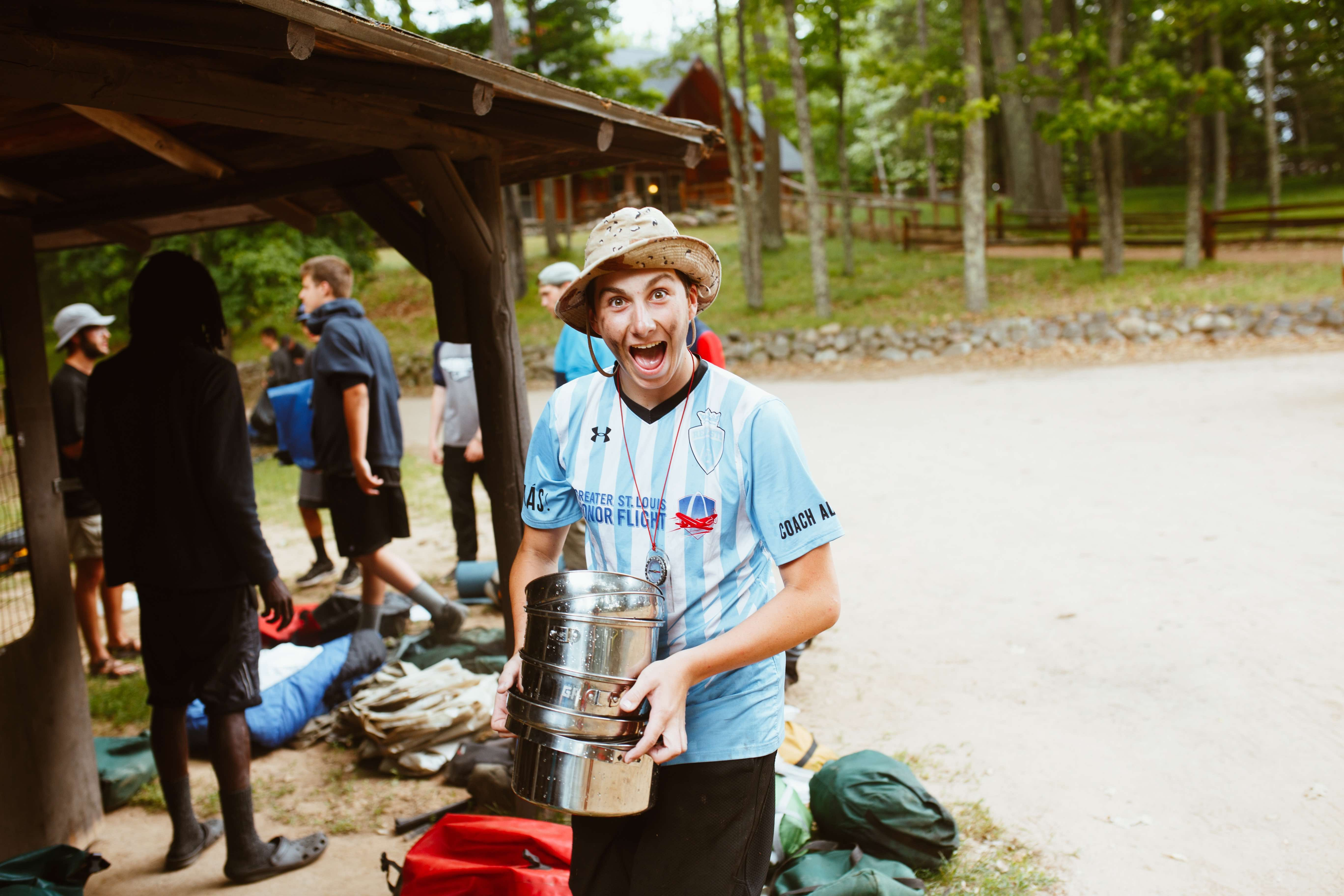 Campers haven't completed their trip until all of their equipment is cleaned and returned to the trip locker.