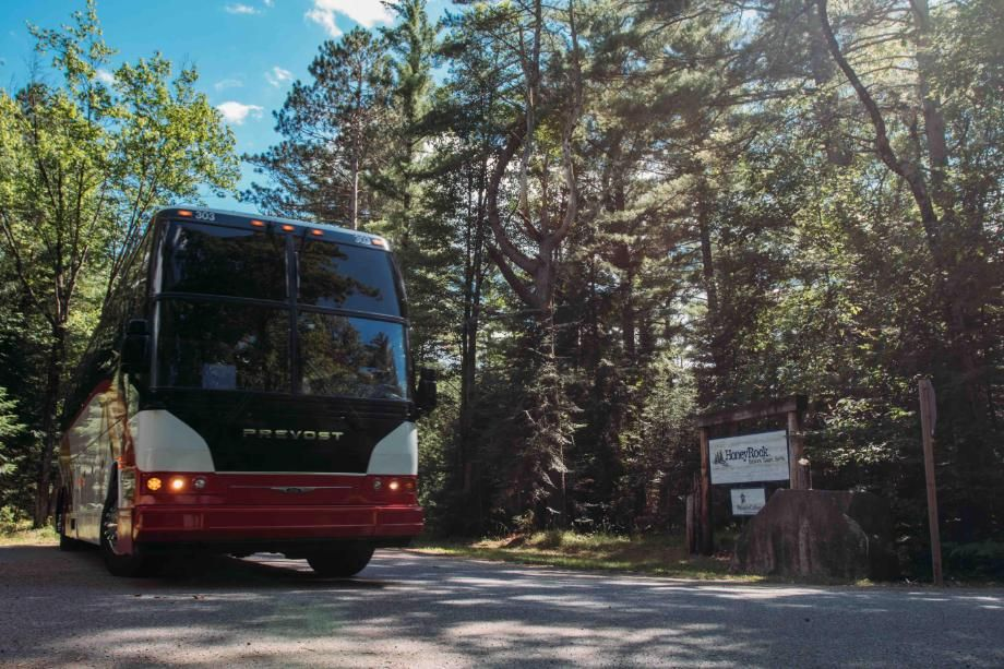 coach bus arriving at honeyrock