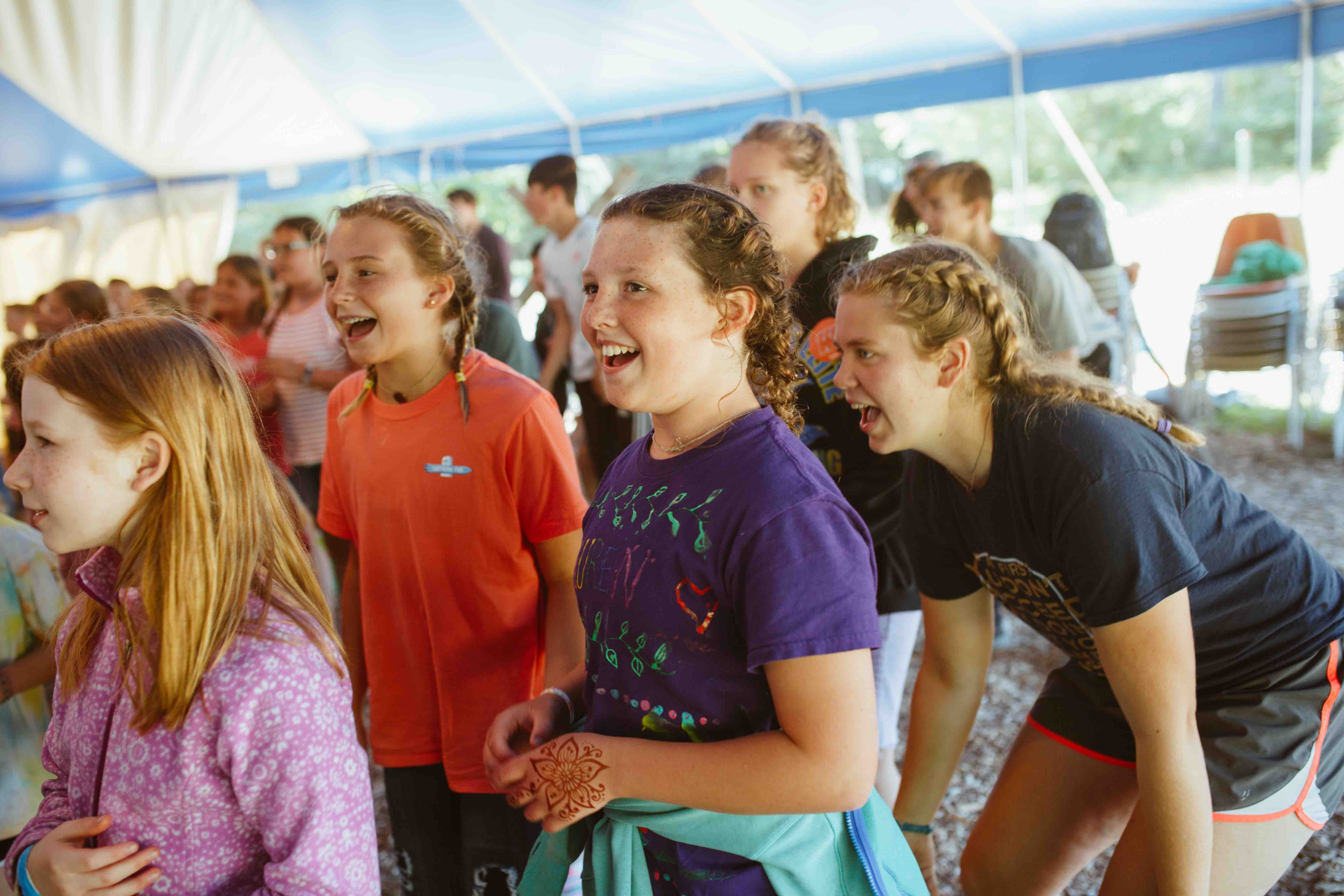Many of our songs have motions. If you're a first-time camper, don't worry! You'll learn them quickly from the worship leaders and new friends.