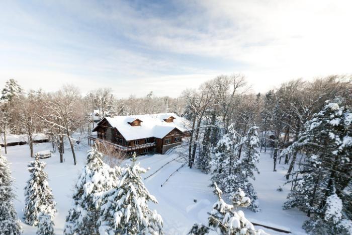 overhead view of Chrouser Center in snow