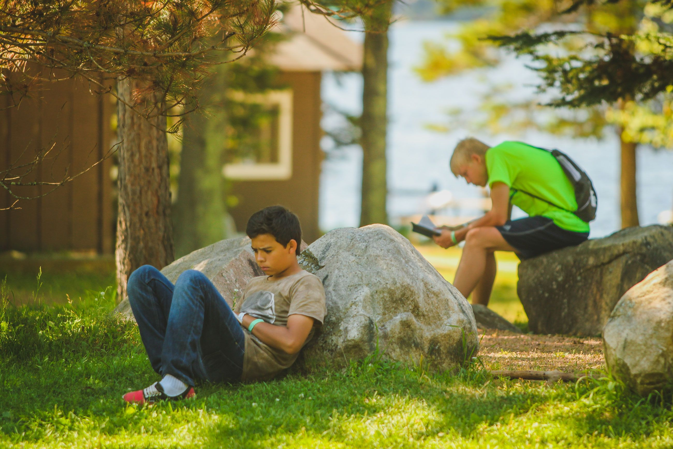 """Campers take time in the morning to read their bible, pray, journal, and/or complete their reflection guide. This is called """"Morning Watch."""""""