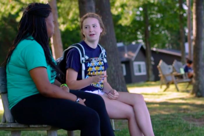 girls talking at honeyrock