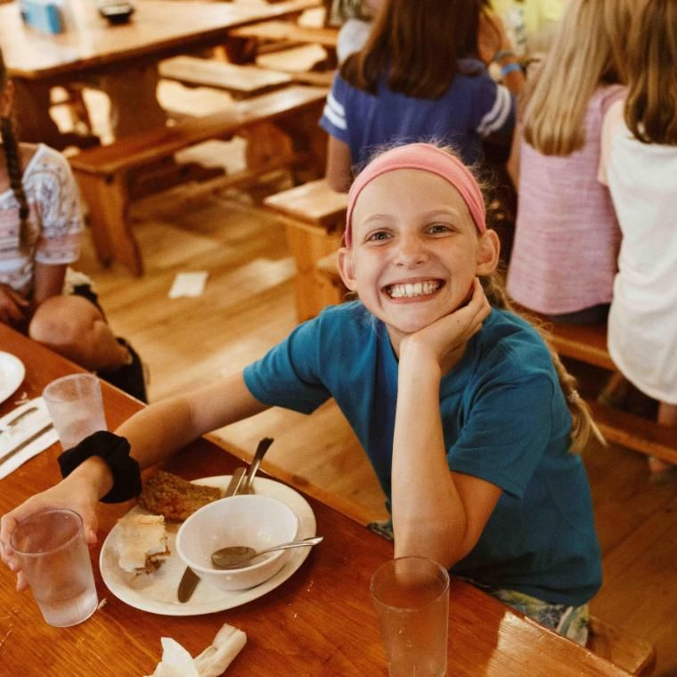 Around 8:00 am campers gather in the Dining Hall and eat together as a cabin for breakfast, lunch, and dinner.