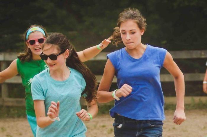 girls running at honeyrock