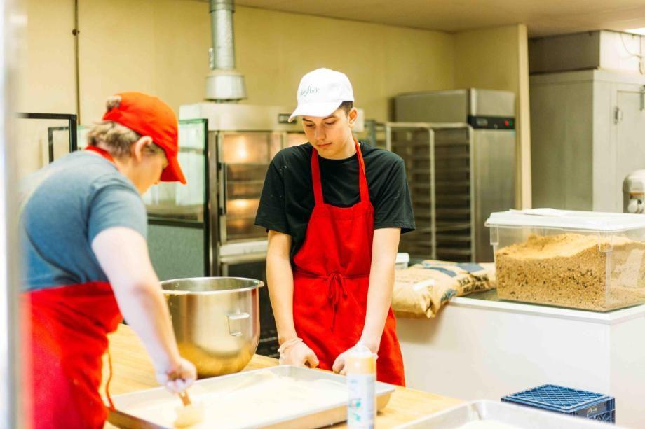 working in the honeyrock bakery