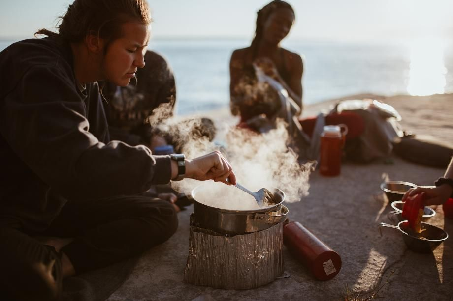 Students cooking dinner at Lake Superior Our People Variant