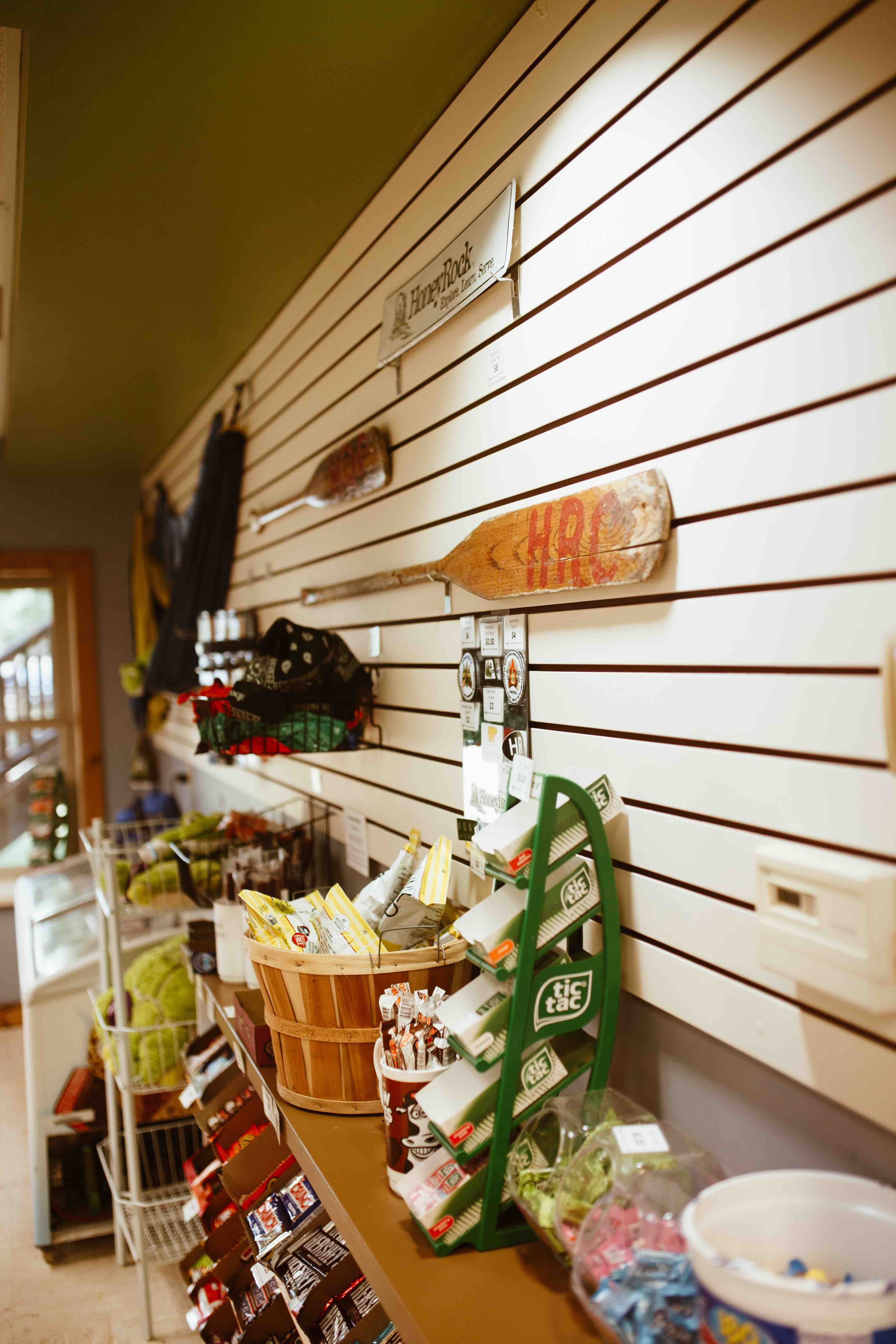 The Beehive sells apparel, drinkware, and fun souvenirs. In addition to this, we sell a limited selection of snacks, toiletry items, stamps, and postcards.