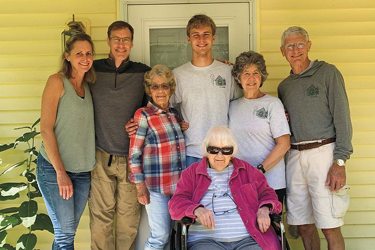 Jacob Elsen, a sixth-generation Wheaton student, pictured here with four living generations.
