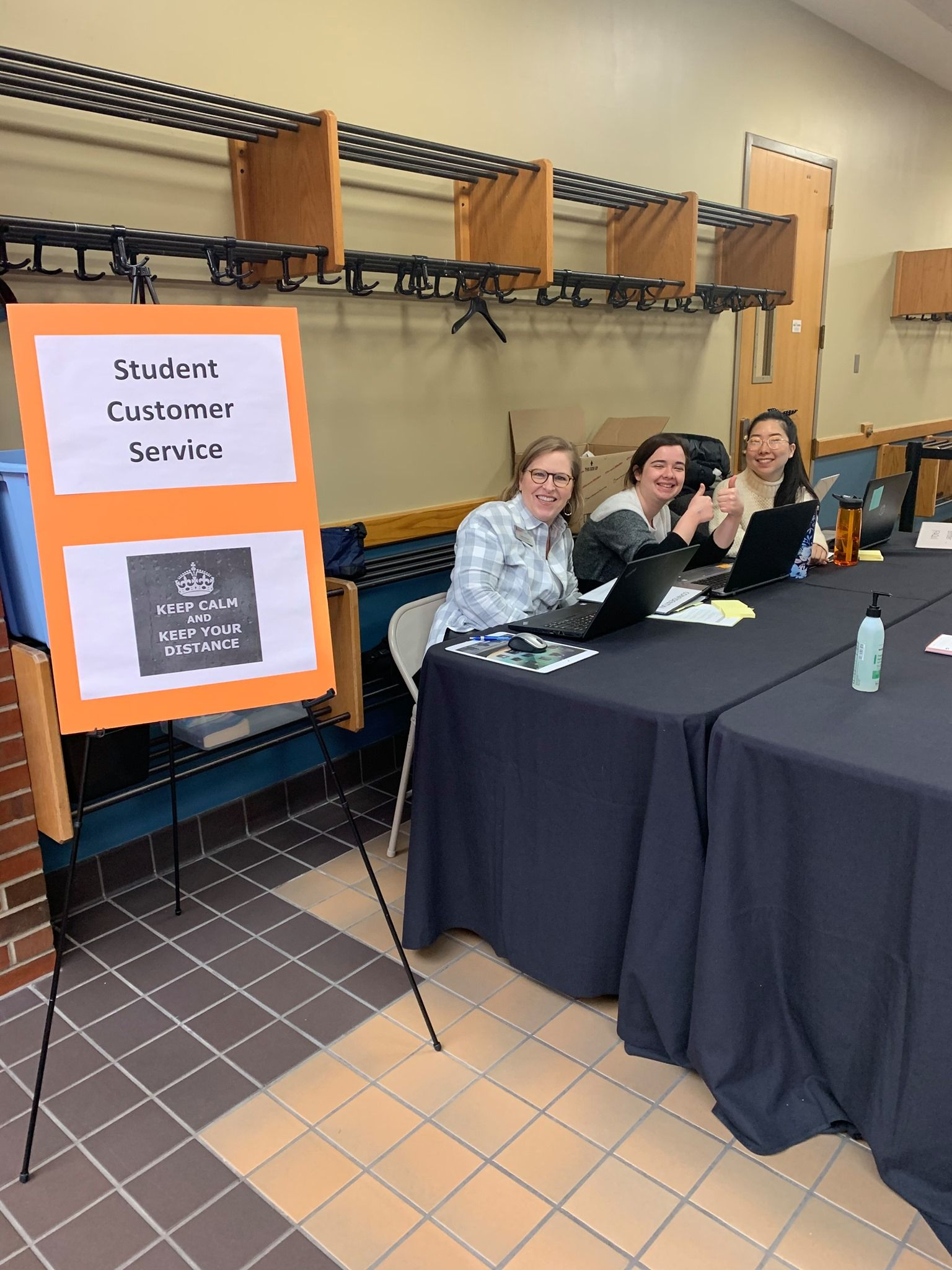 Wheaton staff at the Help Desk ready to help students with details of moving out of the residence halls.