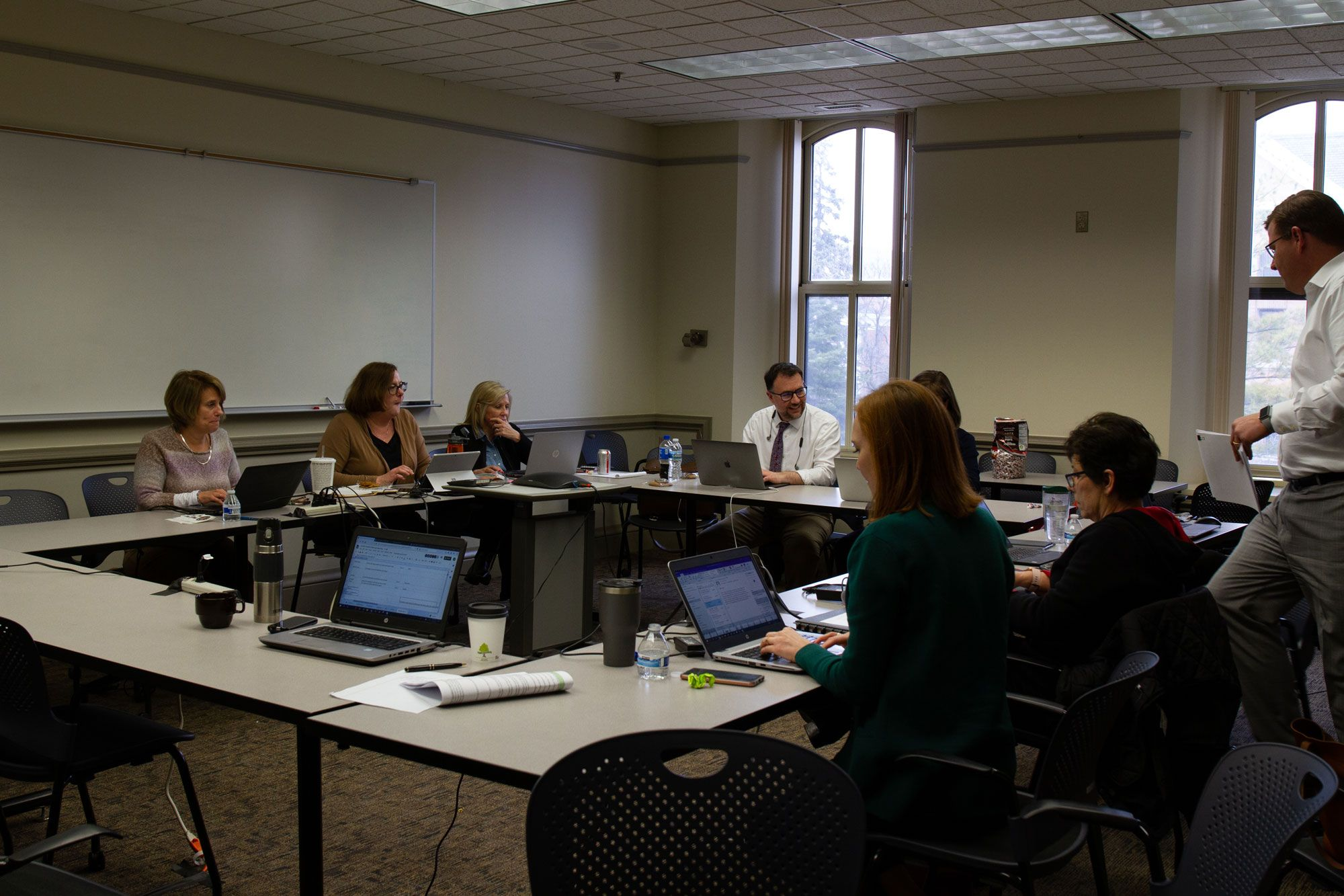 The COVID19 Response Team spent many long hours in a war room coordinating all the logistics required to move to online learning.