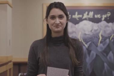 Wheaton Senior Alisa Reads a Letter Written to Herself as a Freshman