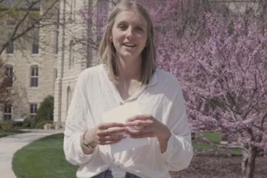 Wheaton College IL Senior Lydia reads letter written to herself as a freshman