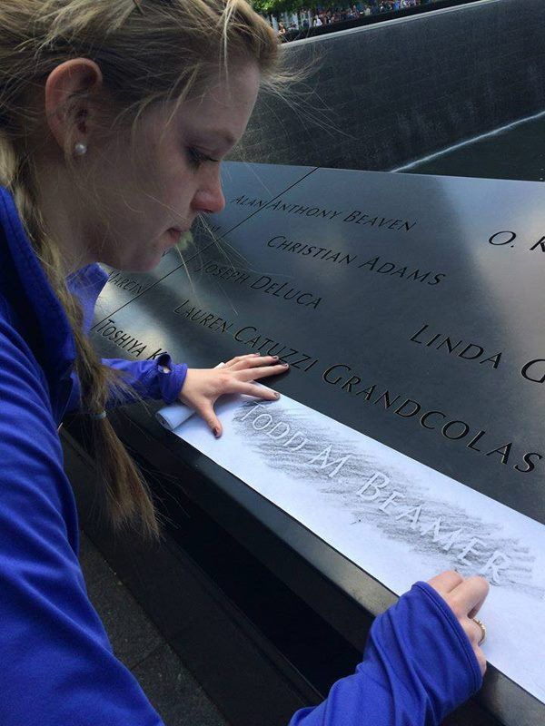 """In 2015 Ellie Christenson '13 and her family visited the 9/11 museum and memorial in New York City. Ellie traced the name of Todd Beamer '91, who died on United Airlines flight 93. Ellie says, """"All I could think about as I traced his name, was how Todd's hope in God and his courage allowed God's name to shine even in the midst of a very dark day for our country."""""""