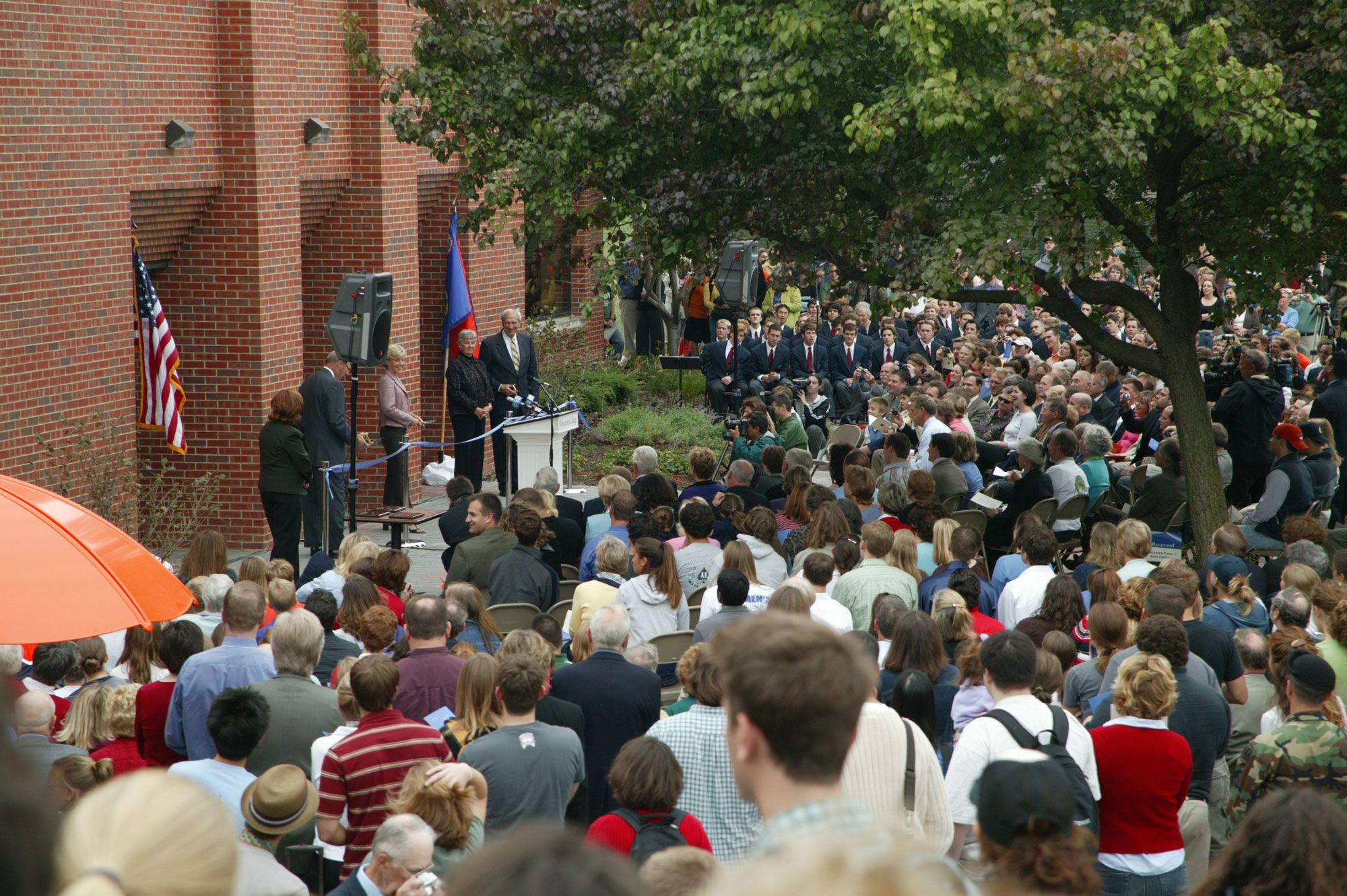 """The Todd M. Beamer Student Center was unveiled Homecoming Weekend 2004. As students enter the lower level of the building—now nicknamed Lower Beamer—their first sight is a bas-relief of a likeness of Beamer with his sons, with the engraved words: """"Let's roll."""""""