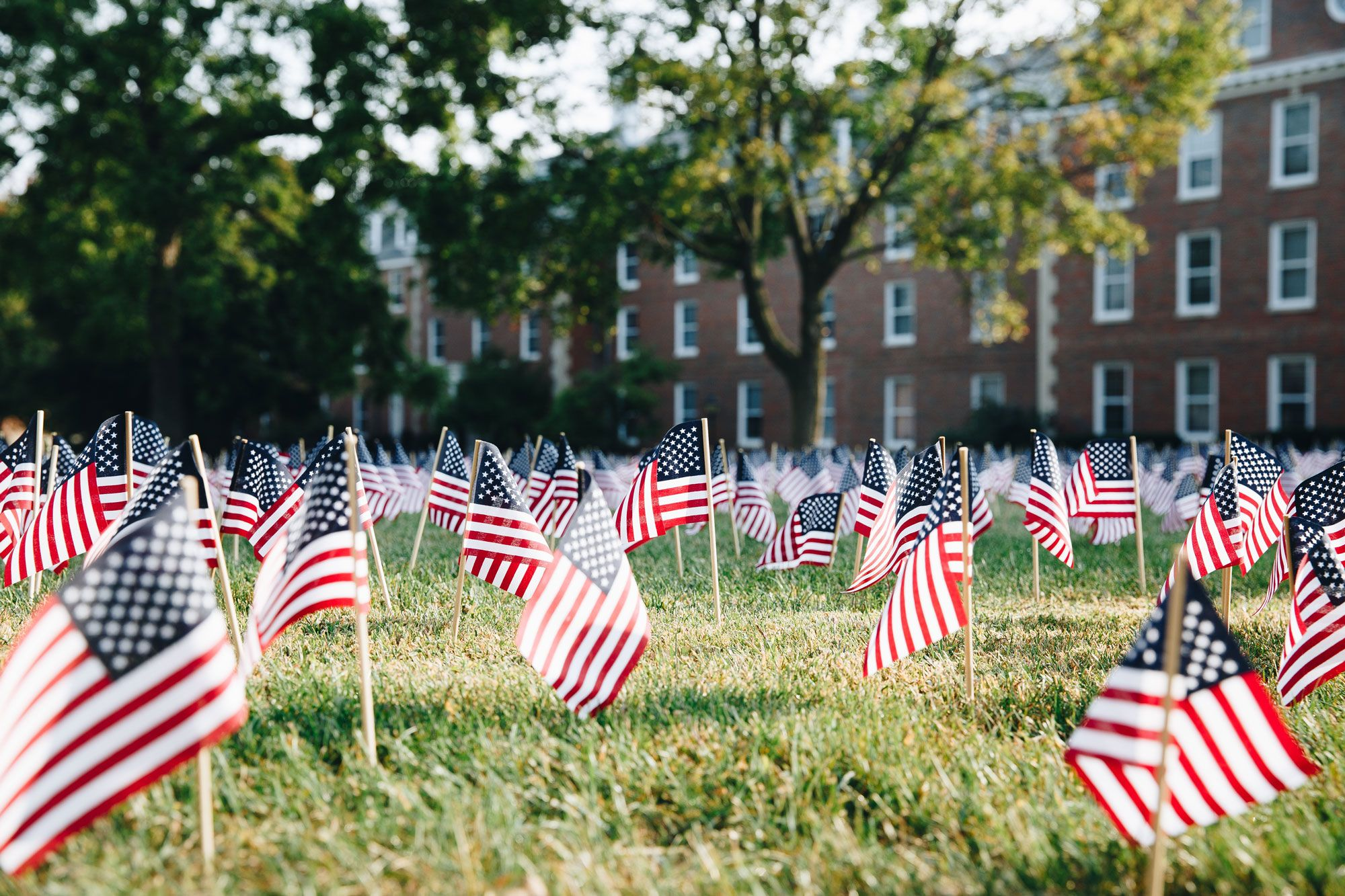 In 2016 the Wheaton College Young Americans for Freedom put together this moving display of flags representing each of the 2,996 precious lives that were lost on September 11, 2001.