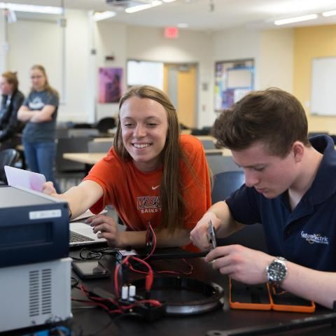 Wheaton College Physics Students in lab