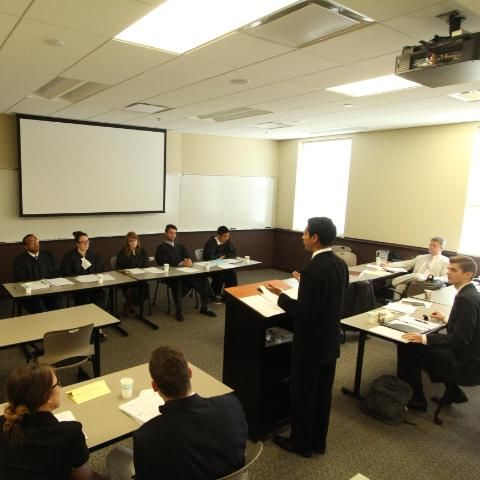 Students at Wheaton College doing a mock trial competition
