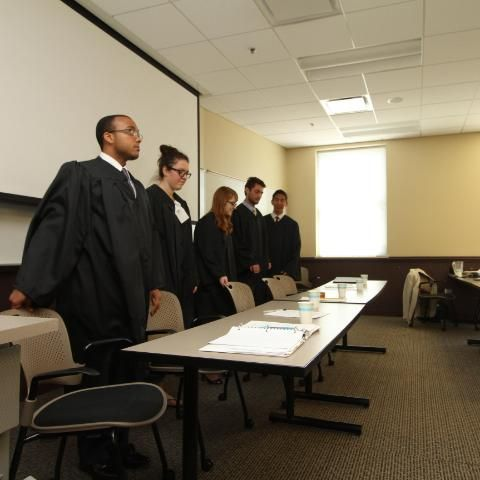 Wheaton College Students hosting a mock trial competition