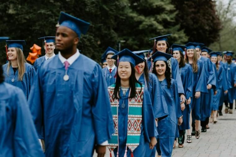 Wheaton College 2019 Undergraduate Students Walking Into Commencement